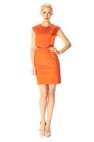 French Connection Fusion Drape Belted Dress Orange