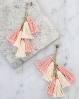Ettika Day Dreamer Tassel Earrings in Peach