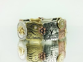 Embrace Life Tri-Tone Stretch Bracelet