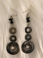 Blue Swirl Earrings With Black Beads