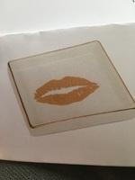 Square gold lips dish/trinket tray $15RV