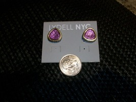 Lydell NYC Earrings, Purple Stone with Clear Crystals