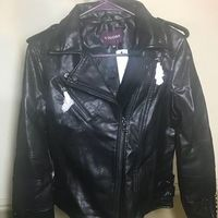 VIGOSS FAUX LAETHER STUDDED MOTO JACKET