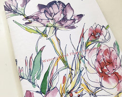 Watercolored Flower Journal