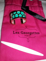 Les Georgettes Gold Cuff Ring with Teal Leather insert and leather changer tool