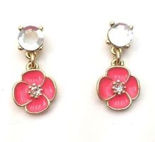 Kate Spade Coral Flower Crystal Drop Earrings