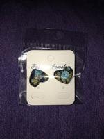 Secret garden flowered fabric earrings pierced