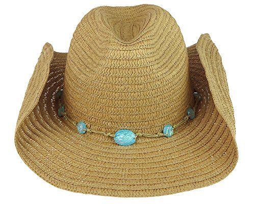 Straw Hat w/ blue/green gemstones