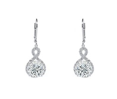"Alessandra ""Vision"" 18k White Gold Plated Drop Earrings"