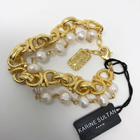 Karine Sultan 24K Gold Plated & Fresh Water Pearls Bracelet
