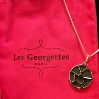Les Georgettes Necklace - Leather in Gunmetal & Hot Pink
