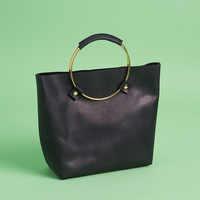 Tribe Alive Luxe Brass Handle Handbag in Black