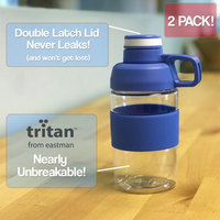 Set of 2 Tritan Plastic Compact 17oz Water Bottles with Double Latch Lids