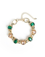 Jewelmint Emerald and Peach Rhinestone bracelet