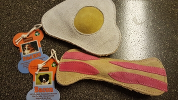 Bacon and Eggs Leather Dog Toys by Aussie Naturals