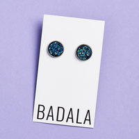 Badala Druzy Earrings in Peacock