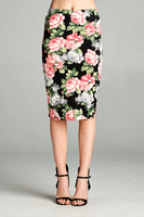 DNA Scuba Knee Length Flower Print Skirt