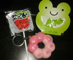 tiny frog erasers, Japanese strawberry lolli eraser, squishy donut keyring