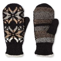 ISOTONER MITTENS WITH FAUX SHEARLING LINING