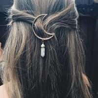 Moon hair clip with crystal