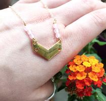 Modern Alchemy Jewelry 14k gold and rose quartz handmade necklace