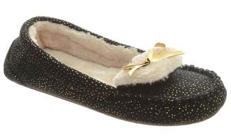 Black and Gold Slippers with furry lining