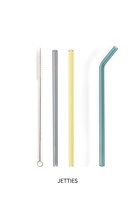 Set of 3 straight reusable glass straws and brush