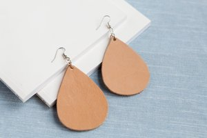 Exclusive Large Tan Leather Teardrop Earrings