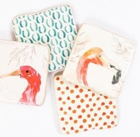 Set of 4 Bird Resin Coasters with Stand from Creative Co-Op