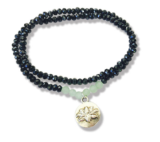 Midnight Dark with light green crystal bracelet