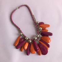Pink and Orange Teardrop Bead Statement Necklace