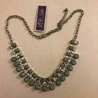 Statement Necklace Retro Green with Rhinestones