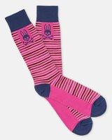 Psycho Bunny Men's Abstract Stripe Dress Socks in Hot Pink