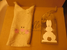 RABBIT PAINTED WOOD WITH BUNNY COVER