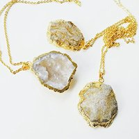WHITE DRUZY NECKLACE GOLD PLATED 22