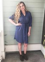 Paper Crane Striped Shirt Dress - L