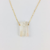 Triple Crystal Gold Tone White Quartz Necklace