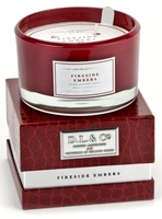 D.L.& Co. L'HOMME LUXE - 13.5 oz 3 Wick Candle Red - FIRESIDE EMBERS