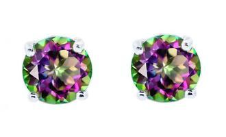 Beyonce 1Ct Sterling Silver Gemstone Stud Earrings - Round Mystic
