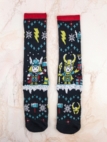 Thor and Loki Ugly Sweater Marvel Loot Crate Socks