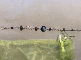 Black and blue stone bracelet