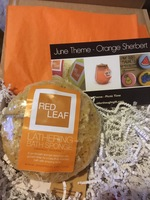 Red Leaf Lathering Bath Sponge - Orange Sherbert