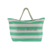 Little Marcel Teal & White Stripe Beach Bag
