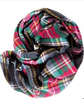 Olive and Pique Plaid Blanket Scarf, Black
