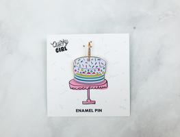 Quirky girl enamel birthday cake pin