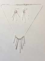 Silver bar necklace and earrings