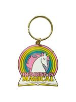 Reading Is Magical Rainbow Unicorn Keychain