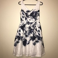 Liza Luxe white and blue floral sleeveless dress XL