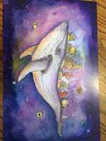 whale art print by Aun-Juli Riddle