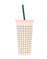 Ban.do Sip Sip Tumbler With Straw, Mini Grid